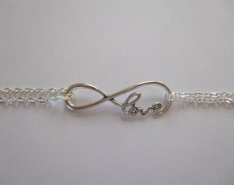Personalized Infinity Bracelet, Double Chain Infinity Bracelet, Bridesmaid Bracelet, Sister Bracelet, Bridesmaid Infinity Bracelet, Gift