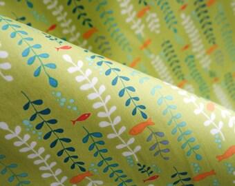 Kelp Forest Fabric - Ocean Fabric - Monaluna Organics - Under the Sea Collection - Organic Quilting Cotton - Green Fabric - HALF YD