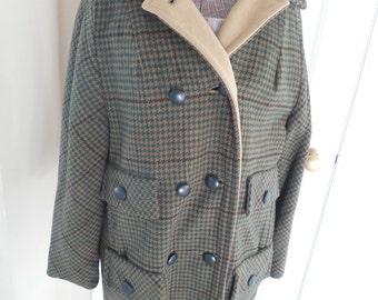 SALE Warm Vintage Tweed Herringbone Wool Car Coat...Penguin Fashions