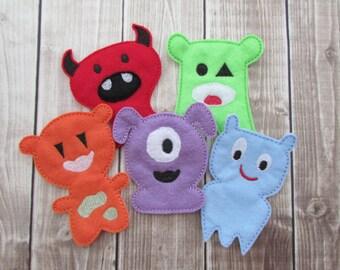 Monster Finger Puppet Set, Finger Puppets, Embroidered Finger Puppets, Monster Finger Puppet, Pretend Play