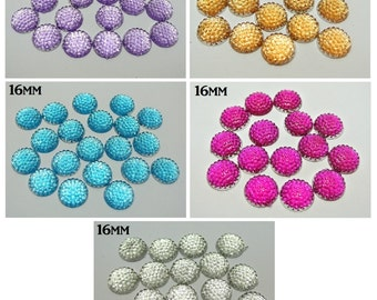 100) Flat Back 16mm Dottedl Faceted Rhinstone Acrylic No Hole 16mm cabochon button bead flat back cabochon Rhinestone DIY Craft