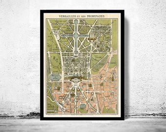 Old Map of Versailles  France 1920