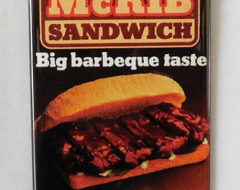 "McDonald's McRib Sandwich 2"" x 3"" Fridge Magnet Art Vintage"