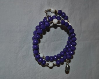 Memory Wire Rosary Bracelet, Purple and White