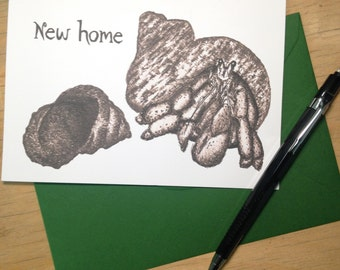 Hermit Crab New Home Greetings Card Hare Raising Designs