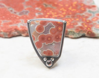 Ocean Jasper Ring - 7 1/4,  Sterling Silver, Red Garnet, Oxidized