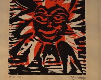 "Colorful M. Schwartz ""Old Sol"" Block Print"