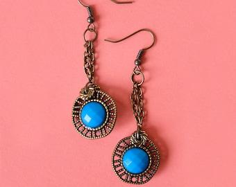 Blue & Bronze Drop Earrings