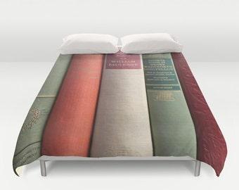 Books Duvet, Books Bedding, Books Duvet Cover, Books Bedspread, Literary Duvet, Poetry Duvet, Writer Home Decor, Author Decor, Faulkner, red