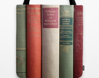 Books Tote Bag, Book Bag, Old Books Tote, Library Tote Bag, Book Lovers Tote, Poetry Book Bag, Faulkner, Longfellow, Antique Books, School