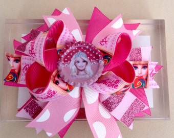 Barbie Inspired Boutique Hair Bow, Barbie Inspired Baby Headband, Barbie Inspired Birthday Hair Bow