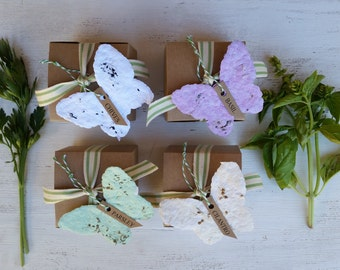 4 Paper Butterfly paper herb garden kits herb planter herb seed paper butterfly party herb seeds plantable paper, indoor herbs gift for mom