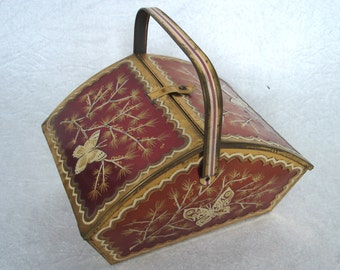 Vintage Tin Picnic Basket with 2 lids & handle (old tea box), about 40s 50s, Germany