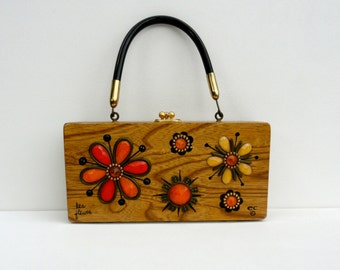 1960s 1970s Box Bag Wooden, Vintage Enid Collins Wooden ec Rhinestone Purse Orange Yellow Black Floral Handbag, 60s 70s ec Small Box Bag