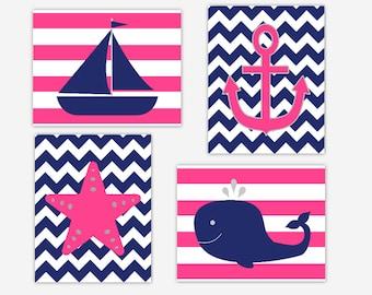 Nautical Nursery Wall Art Pink Navy Blue Girls Nautical Wall Decor Whale Anchor Sailboat Boat Starfish Girl Nursery Wall Decor Baby Nursery