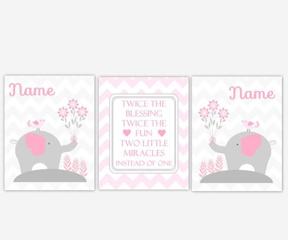 Twin Baby Girl Quotes: Twins Baby Nursery Art Pink Elephants Twin Quotes Baby Girl