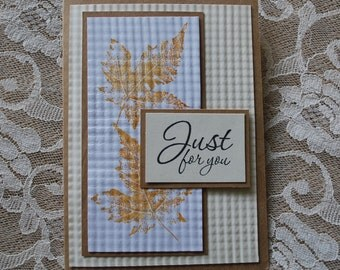 Handmade Greeting Card: masculine, leaves, gold and brown