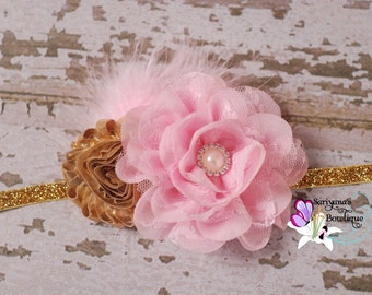 Gold Pink Lace Flower Feather Rhinestone Headband, Vintage Headband, Flower Girl Headband - SB-001GP