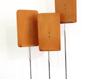 Vintage Shop Display Stands, Three Wood and Metal Stands, Made in Sydney Australia, Store Display, Multiple Display Uses, Photography Prop