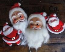 Santa Rubber Face/Head Picks & Plastic Dancing Santa ~ Made in Japan ~ Vintage Santa Lot of 4