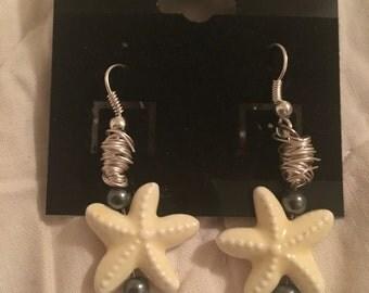 Starfish and hematite earrings