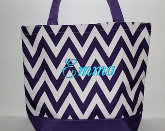 Bridesmaid Tote Bag, Chevron Bag, Personalized Tote Bag, Purple Bag