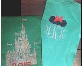 Christmas Castle Disney Shirt - Minnie Ears Monogram - Green and Red Glitter Vinyl - Comfort Color - Tee - Long Sleeve - Castle Monogram