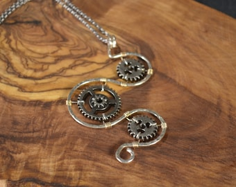 Steampunk Pendant, Steampunk Necklace, Stargate Necklace, Captured gears necklace, Sterling Silver wire necklace