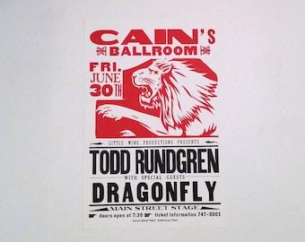 Todd Rundgren Band Poster Original Hatch Show Print Company Live Concert Tour 1995 Cain's Ballroom Tulsa OK Mohawk Music Records Dragonfly