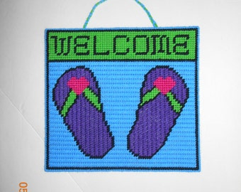 Welcome sign -  Flip Flop wall hanging -  plastic canvas - summer - flip flop welcome sign