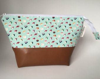 Open wide zipper pouch - sushi print with leather bottom