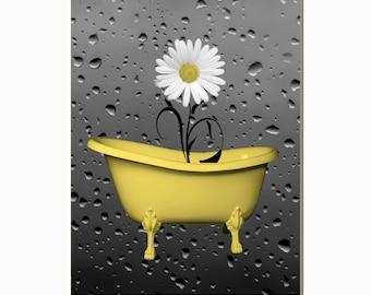 Yellow Bathroom Decor Daisy Flower In Bathtub Raindrops Powder Room Yellow Wall Picture