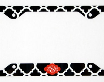 Plate Frame Monogram, License Plate Cover Holder, Custom Monogrammed Personalized New Car Accessories Cute Car Accessories For Women