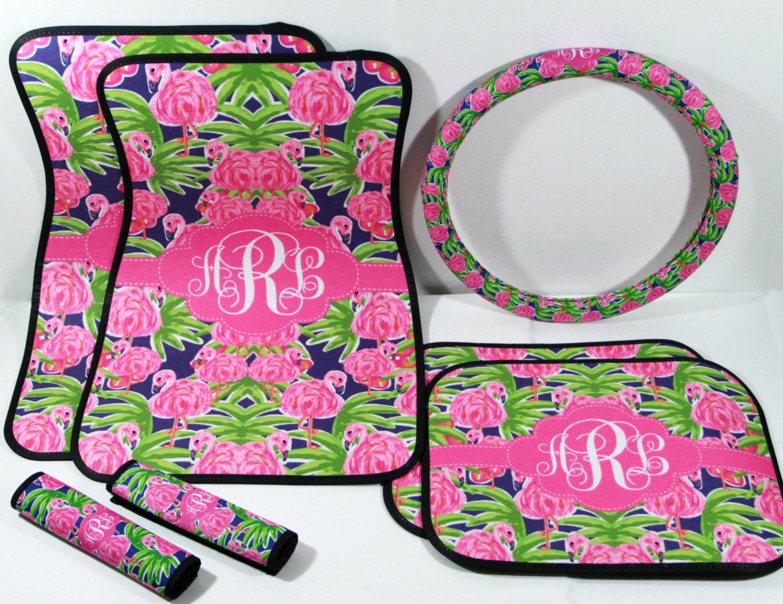 Preppy Floral Flamingo Lilly Car Accessories Car Mats