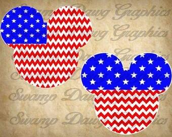 American Mickey svg, American flag mickey, mickey head, svg, silhouette, cricut, digital file, decal, htv, vinyl, fourth of July, patriotic