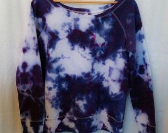 Custom Hand Dyed Purple Passion Tie Dye Sweatshirt/ Fleece Slouchy Wideneck/ Tie Dyed/ Long Sleeve/Women's Sweater