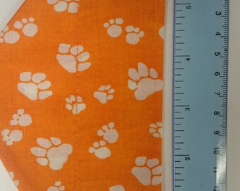 Dog / Pet Reversible  Paw Print Bandanas, Orange with White Paws