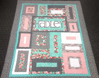 Personalized Crib Sized Baby Quilt