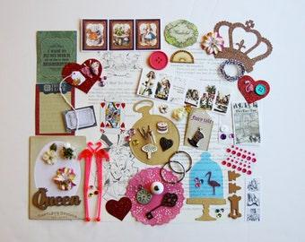 Alice in Wonderland Custom Chipboard Mini Book Album DIY Kit Scrapbooking