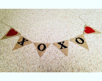 XOXO Valentines Banner Burlap Banner Love Burlap Banner Photo Prop