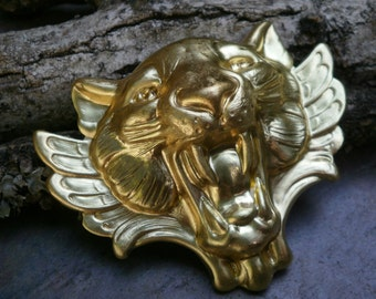 Raw Brass Stamping Cat Lion Face Roar