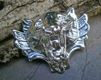 Bright Silver Brass Stamping Cat Lion Face Roar