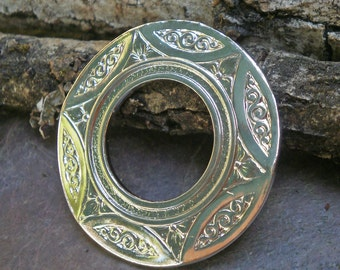 Bright Silver Plated Brass Stamping Art Nouveau Focal Piece Round