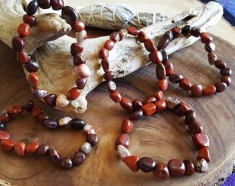 Tumbled Brecciated & Red Jasper stretchy bracelet ~ 1 reiki infused gemstone bracelet
