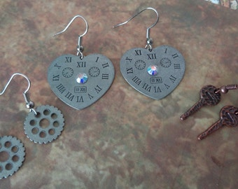 Steampunk Earrings set. Heart time piece. Gears & Keys. Mixed metal tones