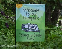 Personalized Camping Flag, Garden or House Flag, Welcome to our Campsite, Trailer, CF-19