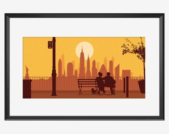 New York Skyline print, The Lovers, Woody Allen Manhattan movie Inspired art print poster, NYC Manhattan Skyline print original gift Love NY