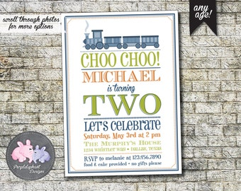 Choo Choo Train Birthday Invitation, Boy's Train Birthday Party, Boys Second Birthday Invitation, 4th Train Birthday Party 5x7 - Printable
