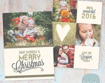 SALE NOW ON Christmas Card Template - Gold Glitter- Photoshop template - Ac025 - Instant Download