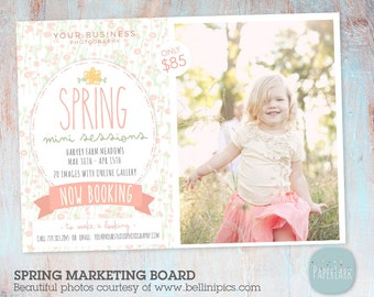 Spring Mini Sessions Photography Marketing Board - Photoshop Template - IE006 - INSTANT DOWNLOAD